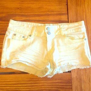 Pale Yellow Denim Shorts